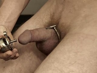 Boi Putting On His New Chastity Cage With Urethral Plug